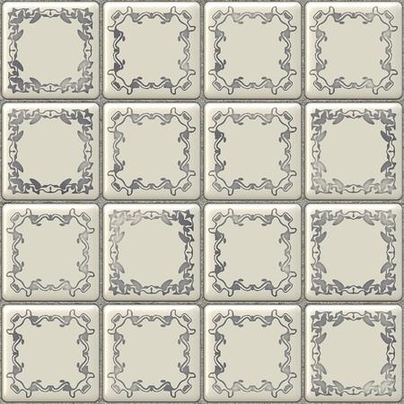 mosaic floor: Seamless white tiles texture with geometric decoration Stock Photo