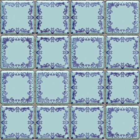 Seamless blue tiles texture with geometric decoration photo
