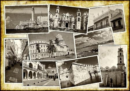 havana cuba: Old postcards of Havana on a grunge background Stock Photo