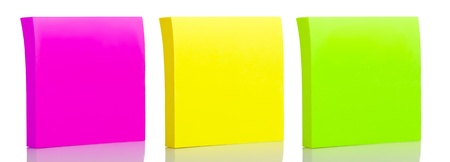 to post: Set of three sticker post-it notes on a white background with reflections Stock Photo