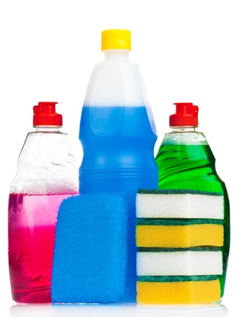 Household cleaning products in bright colors on a white background photo