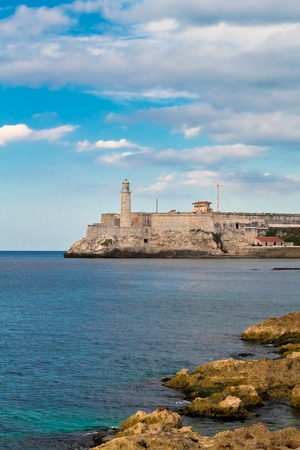 carribean: Vertical view of the fortress of El Morro in Havana, Cuba Stock Photo