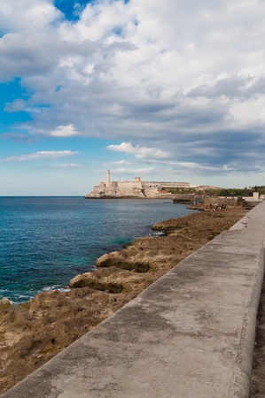 Vertical view of the fortress of El Morro and the sea wall in Havana, Cuba Stock Photo - 9383919