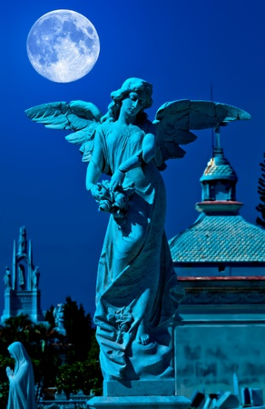 Angel in a cemetery at midnight with a bright full moon photo