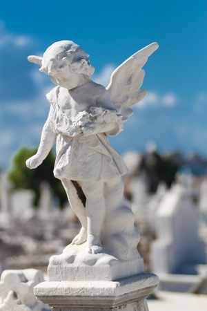 Child angel statue in a cemetery photo