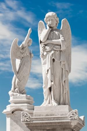 美しい空の背景を持つ 2 つの白い天使