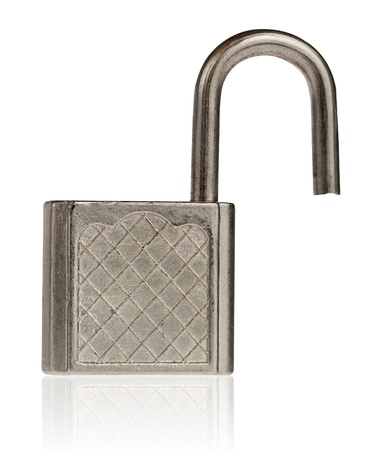 Open padlock isolated on white with clipping path Stock Photo - 9383886