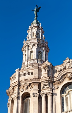 Detail of the Great Theater of Havana with a clear blue sky background photo