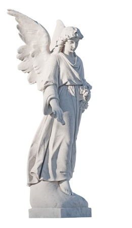 White marble statue of a beautiful female angel isolated on white  photo