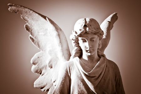 Sepia image of a marble angel statue Stock Photo