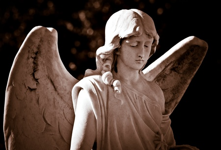 Statue of a young angel in sepia shades photo