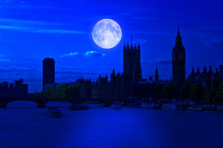 moon  metropolis: The Big Ben and the river Thames at midnight with a bright full moon