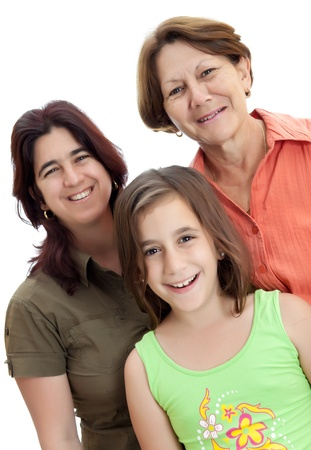 Three generations of latin women isolated on a white background photo