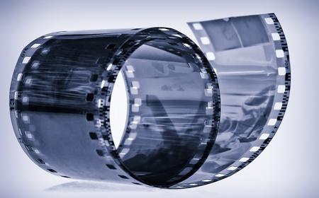 Cyanotipe of a 35 mm photographic film photo