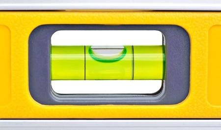 Makro Schuss von einer gelben Wasserwaage