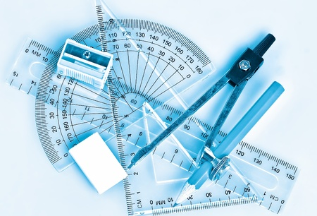 Set of school tools and accessories in blue shades Stock Photo - 9399597