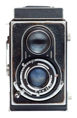 old camera: Vintage twin reflex camera on a white background