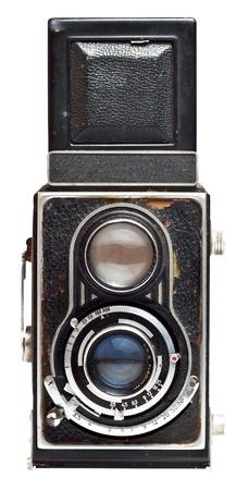 reflex: Fotocamera reflex twin vintage, isolato su uno sfondo bianco