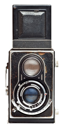 old camera: Vintage twin reflex camera isolated on a white background
