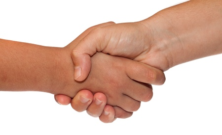 business hand shake: Adult and child shaking hands isolated on a white background