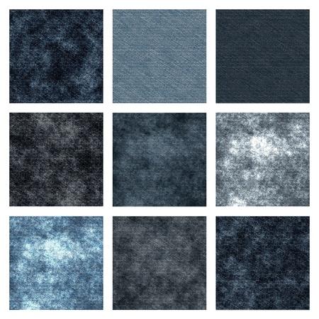 jeansstoff: Satz von neun nahtlose Denim Texturen mit feinen Details
