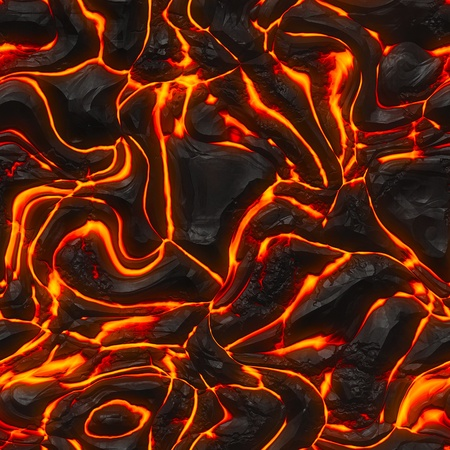 scorched: Seamless magma or lava texture with melting rocks and fire