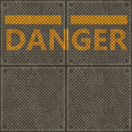 Seamless metal pavement textur with a yellow line and the word DANGER photo