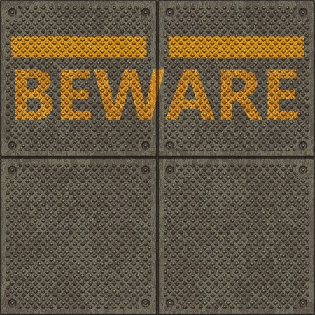 Seamless metal pavement textur with a yellow line and the word BEWARE photo