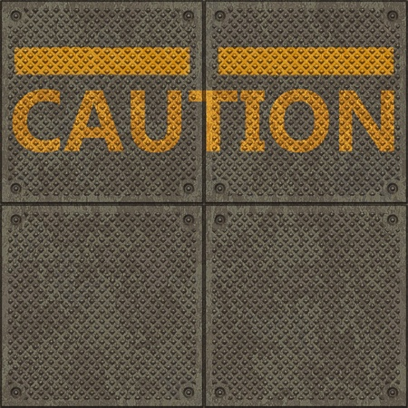 Seamless metal pavement textur with a yellow line and the word CAUTION photo