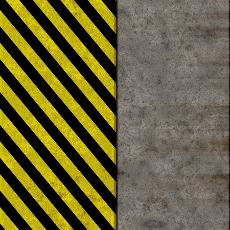 Seamless concrete wall texture with black and yellow warning stripes photo