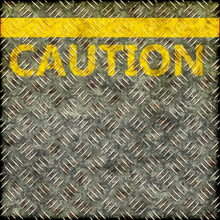 Grunge metal pavement plate with a yellow line and the word CAUTION photo