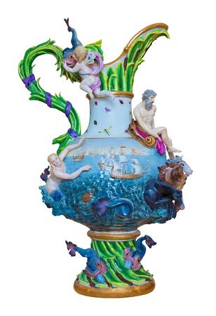 trabajo manual: Jarrón de porcelana de lujo europeo que representa una escena marina