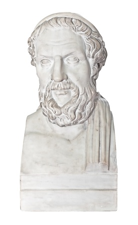 Ancient statue of the greek poet Homer isolated on white with cliipping path