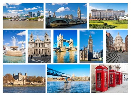 Collection of London landmarks and iconic symbols,places and objects photo