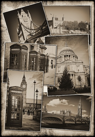 Collection of old postcards of London featuring famous landmarks on a grunge background