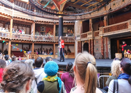 rehearse: LONDON-APRIL 18:Artist rehearsing a play at The Shakespeares Globe Theatre April 18,2011 in London.A replica of the original building,the theatre stages Shakespeares plays every summer since 1996