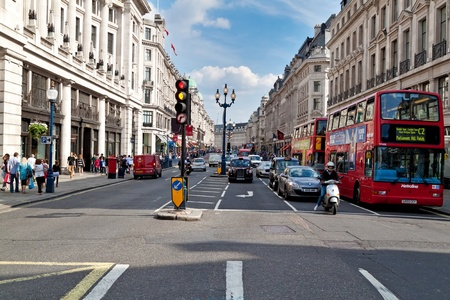 london cityscape: People and traffic in Regent Street, London Editorial