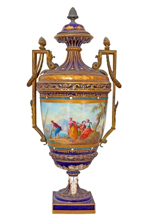 ceramic bottle: Luxurious golden porcelain vase with a painting representing a retro scene at the seaside Stock Photo
