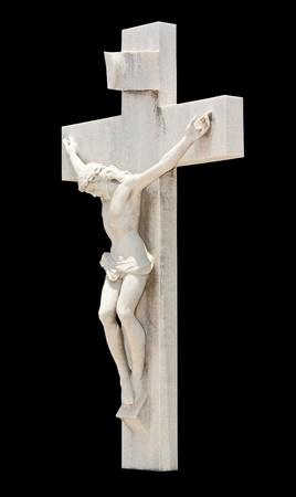 crucified: Estatua de la crucifixi�n de Jes�s aislados en negro