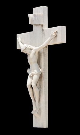 Statue of the crucifixion of Jesus isolated on black photo