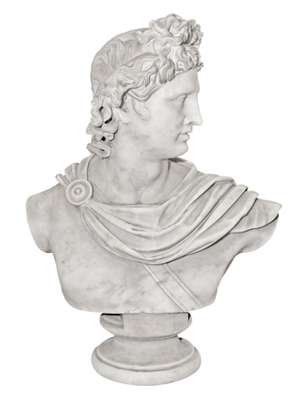 conqueror: Ancient marble statue of Alexander the Great isolated on white