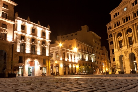 The square of San Francisco in the colonial neighborhood of Old Havana illuminated at night