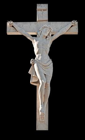 Standbeeld van de kruisiging van Jezus geïsoleerde op zwart