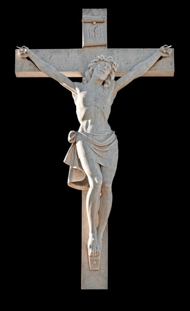 artistic jesus: Statue of the crucifixion of Jesus isolated on black