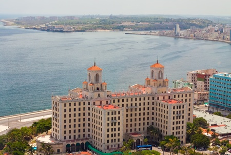 nacional: Aerial view of the Havana shore from El Vedado to the bay entrance