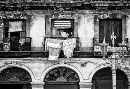 Black and white image of a crumbling building in Old Havana photo