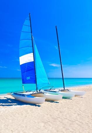 Sailing catamarans on a tropical beach photo