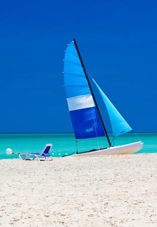 Sailing catamaran in the beautiful beach of Varadero in Cuba photo