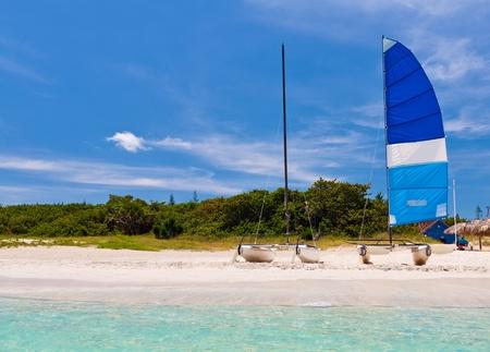 Sailing catamarans in the beautiful beach of Varadero in Cuba photo