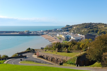 Aerial view of the town of Dover in England on a beautiful day photo